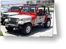 Jurassic Park Jeeps Greeting Card