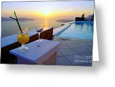 Just Before Sunset In Santorini Greeting Card