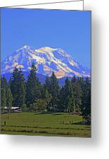 Just Over The Hill Mt. Rainier Greeting Card