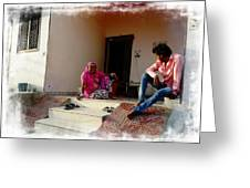 Just Sitting 3 - Family Portrait - Indian Village Rajasthani Greeting Card