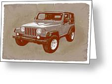 Justjeepn's 2005 Jeep Wrangler Rubicon Car Art Sketch Poster Greeting Card