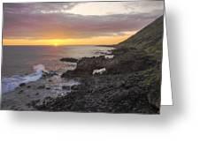 Kaena Point Sea Arch Sunset - Oahu Hawaii Greeting Card