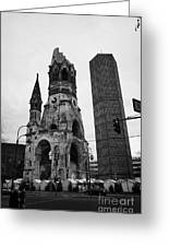 Kaiser Wilhelm Gedachtniskirche Memorial Church New Bell Tower And Christmas Market Berlin Germany Greeting Card by Joe Fox