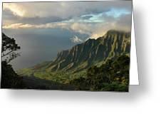 Kalalau Lookout At Sunset Greeting Card