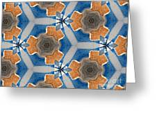 Kaleidoscope In Blue And Orange Greeting Card