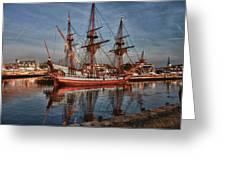 Kalmar Nyckel At Anchor In Salem Ma Greeting Card