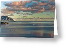 Kaneohe Bay Panorama Mural Greeting Card