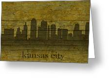 Kansas City Missouri City Skyline Silhouette Distressed On Worn Peeling Wood Greeting Card