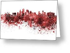 Kansas City Skyline In Red Watercolor On White Background Greeting Card