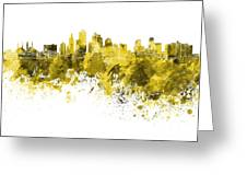 Kansas City Skyline In Yellow Watercolor On White Background Greeting Card