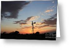 Kansas Golden Sky With A Windmill Greeting Card