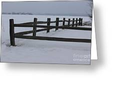 Kansas Snowy Wooden Fence Greeting Card