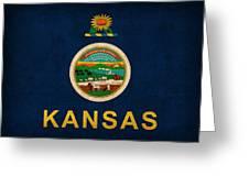 Kansas State Flag Art On Worn Canvas Greeting Card