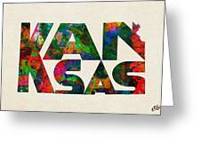 Kansas Typographic Watercolor Map Greeting Card