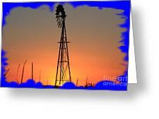 Kansas Windmill Framed Orange Silhouette In Blue Greeting Card