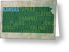Kansas Word Art State Map On Canvas Greeting Card