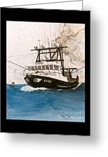 Karis Trawl Fishing Boat Nautical Chart Art Greeting Card