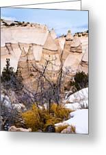 Kasha Katuwe Tent Rocks In The Winter Snow Greeting Card