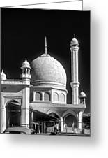 Kashmir Mosque Monochrome Greeting Card by Steve Harrington