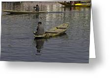 Kashmiri Men Rowing Many Small Wooden Boats In The Waters Of The Dal Lake Greeting Card