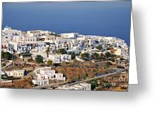 Kastro Village In Sifnos Island Greeting Card