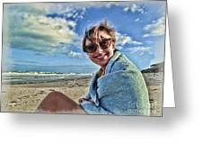 Katie And The Beach Greeting Card