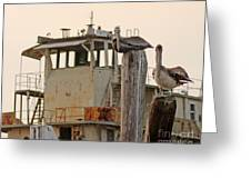 Katrina Ghost Boat And Pelicans Greeting Card