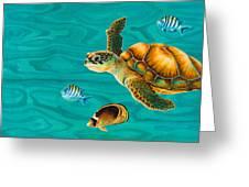 Kauila Sea Turtle Greeting Card by Emily Brantley