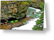 Kayakers In Maligne Canyon In Jasper Np-alberta Greeting Card