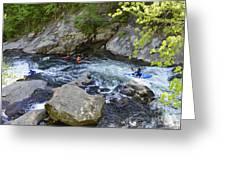 Kayaking Baby Falls Greeting Card