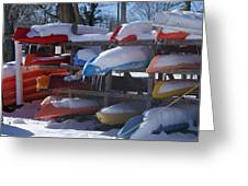 Kayaks And Icicles Greeting Card