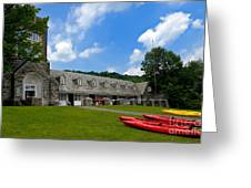 Kayaks At Boat House Greeting Card by Amy Cicconi