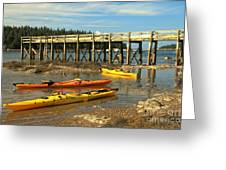 Kayaks By The Pier Greeting Card