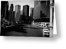 Kayaks On The Chicago River - Black Greeting Card