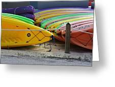 Kayaks Stacked Greeting Card