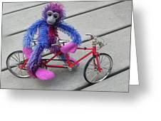 Toy Monkey On Toy Bike Greeting Card