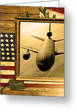 Kc-10 Extender Rustic Flag Greeting Card