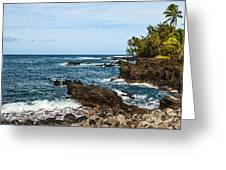 Keanae Coast - The Rugged Volcanic Coast Of The Keanae Peninsula In Maui. Greeting Card