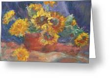 Keep On The Sunny Side - Original Contemporary Impressionist Painting - Sunflower Bouquet Greeting Card