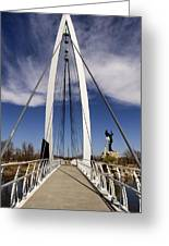 Keeper Of The Plains Bridge View Greeting Card