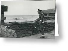Keeping Watch On The High Tides At Lyn Mouth Greeting Card