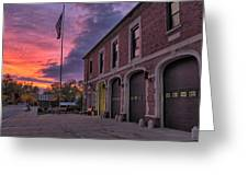 Kenmore Fire Hall Sunset Greeting Card