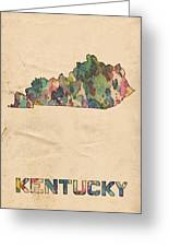 Kentucky Map Vintage Watercolor Greeting Card