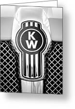 Kenworth Truck Emblem -1196bw Greeting Card
