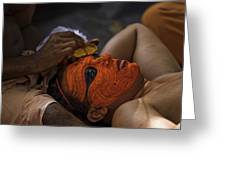 Kerala - A Theyyam-dancer Receives The Ornamental Face-painting Greeting Card