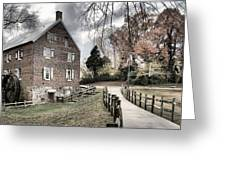 Kerr Grist Mill Stormy Skies Panorama Greeting Card