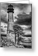 Key Biscayne Fl Lighthouse Black And White Img 7167 Greeting Card