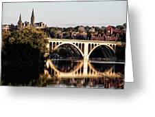 Key Bridge And Georgetown University Washington Dc Greeting Card