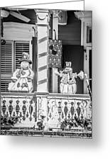 Key West Christmas Decorations 2 - Black And White Greeting Card