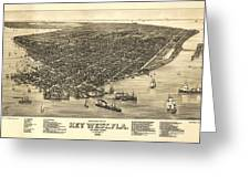 Key West Florida Map 1884 Greeting Card
